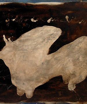 bitume di Giudea, acquaragia e acrilico su legno, 122×162.5 cm., 2003