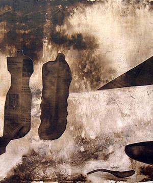 mordente noce, acrilico e collage su legno, 80×125 cm., 2002
