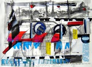 Collage i tinta sobre paper, Desembre del 2005