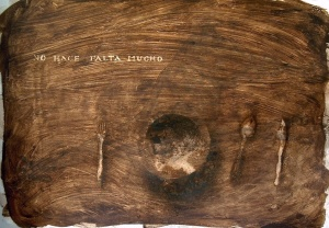 mordente noce e acrilico su cartone, 75×105 cm., 2002