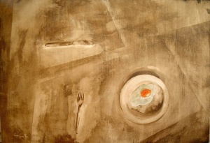 mordente noce e acrilico su legno, 70×100 cm., 2003