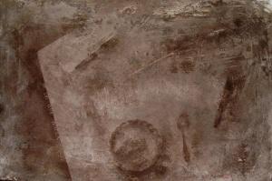 mordente noce, acrilico e segatura su legno, 80×125 cm., 2002