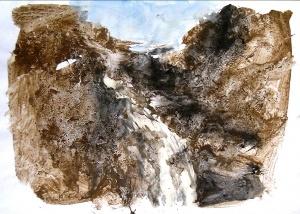 terra e acrilico su carta, 41.5×59 cm., 2002