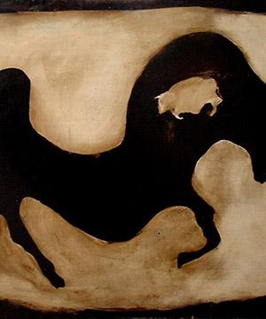 bitume di Giudea, acquaragia e acrilico su legno, 81×122 cm., 2003