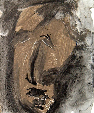 terra, acrilico e china su carta, 40.5×59 cm., 2002