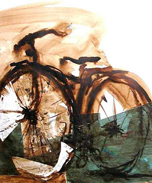 mordente noce e collage su carta, 70×100 cm., 2001