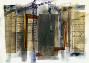 Collage, grafit i tinta sobre paper