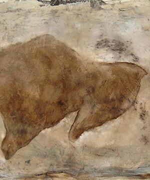 bitume di Giudea, acquaragia, acrilico e mordente noce su cartone, 75×105 cm., 2003