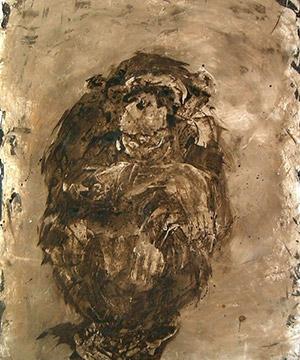 mordente noce e acrilico su cartone, 105×75 cm., 2002
