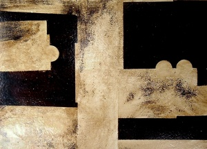 betún de Judea i aiguarràs sobre cartró, 35×50 cm., 2004