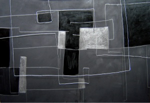 acrílic, grafit i filferro sobre fusta, 120×160 cm., 2004