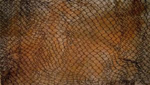 cartró, malla metàl·lica i òxid sobre fusta, 93×162 cm., 2007