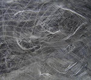 acrílic, grafit, malla metàl·lica i malla plàstica sobre fusta, 49×55 cm., 2005