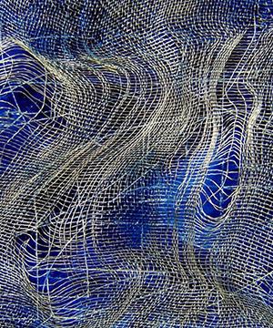 acrílic i malla metàl·lica sobre cartró, 15×28 cm., 2005
