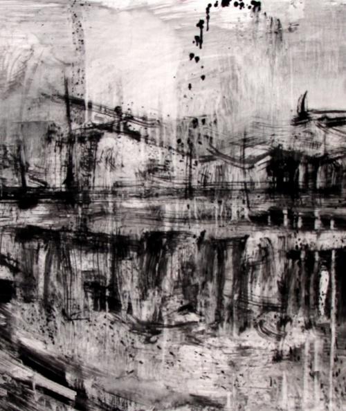 Glòries de la ciutat, tremp sobre paper, 100x200 cm