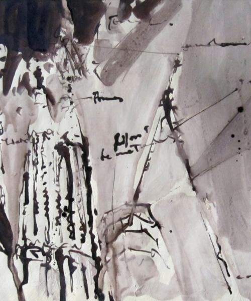Sagrada Familia en obras, tinta sobre paper, 20x30 cm