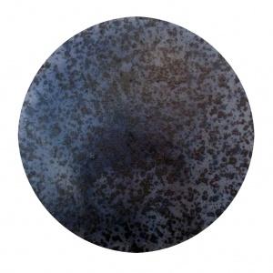 Acid Cosmogony Maps, acid rain and pigment on cardboard, Ø 35 cm.,  2016
