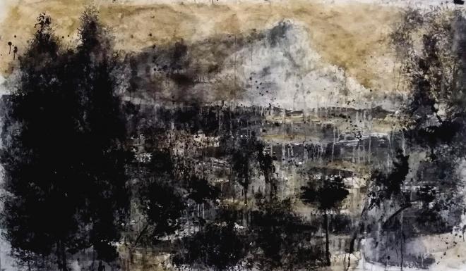 fang i carbó sobre paper, 150x250 cm.