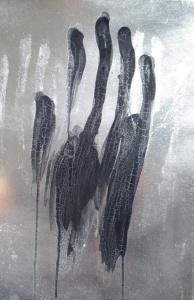 Don't Touch 6,  caseina i esmalt sobre cartró,, 37.5x26.5 cm., 2016