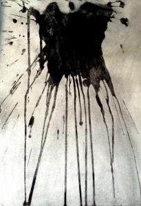 (Re) Pulsions 5, Esmalt platejat, aigua i pigment sobre paper, 32.5x25 cm.