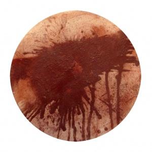 (Re) Pulsions 15, Pigment i aigua sobre cartró, diam. 35 cm.