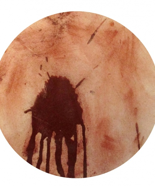 (Re) Pulsions 14, Pigment i aigua sobre cartró, diam. 35 cm.