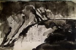Tinta xinesa sobre pàgina de llibre, 17,5x25,5 cm. / China su pagina di libro, 17,5x25,5 cm