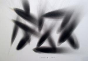 Earth Attak 1, smoke on paper,  21X29.7 cm., 2016