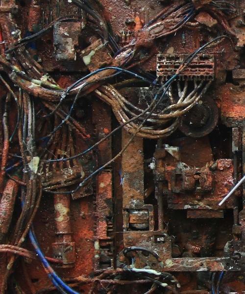 Suggestioni Post-Tecnologiche, detall, sèrie Il Futuro è già Passato, tècnica mixta sobre fusta, 60x60 cm., 2015