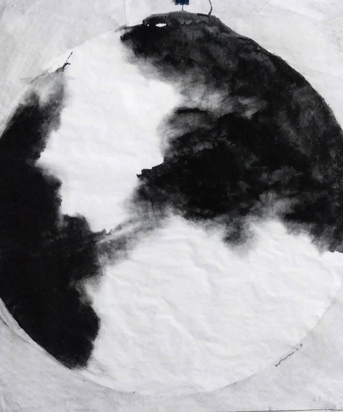 aigua de pluja i pigment sobre paper, 100x100 cm. / acqua di pioggia e pigmenti su carta, 100x100 cm.