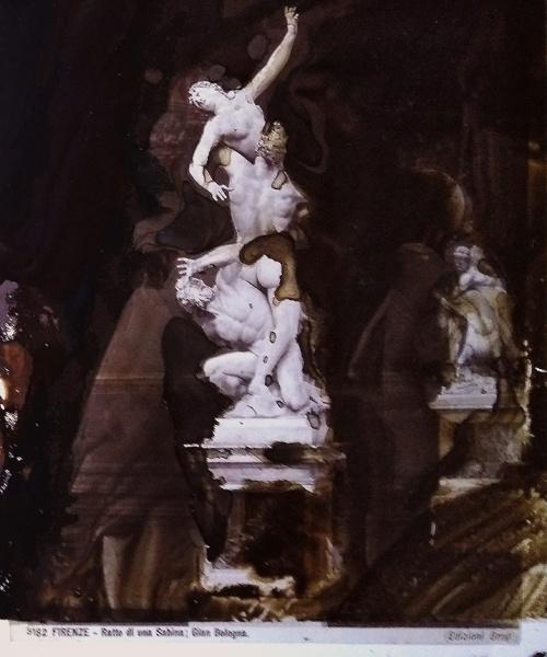 Tecnica acquosa su acetato e fotografia originale all'albumina (Brogi, sec. XIX), 29.7x21/25x19 cm.  Aiguada sobre acetat i fotografia original a l'albúmina (Brogi, s. XIX), 29.7 x 21/25 x 19 cm.