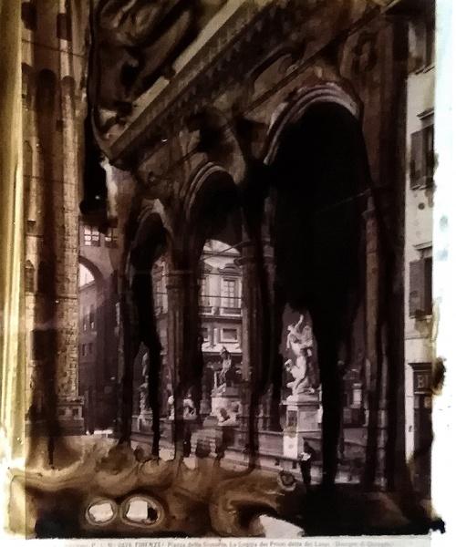aiguada sobre acetat i fotografia original a l'albúmina (Alinari s. XIX), 29.7x21/25x19 cm.  tecnica acquosa su acetato e fotografia originale all'albumina (Alinari, sec. XIX), 29.7x21/25x19 cm.