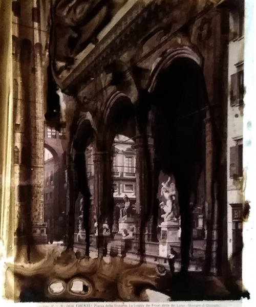 Tecnica acquosa su acetato e fotografia originale all'albumina (Alinari, sec. XIX), 29.7x21/25x19 cm.  Aiguada sobre acetat i fotografia original a l'albúmina (Alinari, s. XIX), 29.7 x 21/25 x 19 cm.