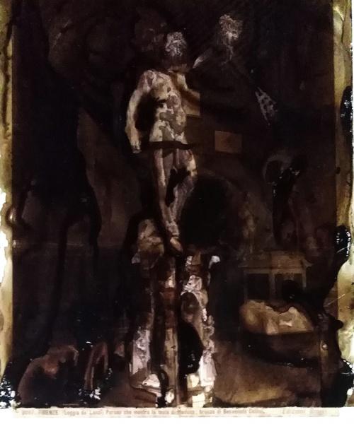 aiguada sobre acetat i fotografia original a l'albúmina (Brogi s. XIX), 29.7x21/25x19 cm.  tecnica acquosa su acetato e fotografia originale all'albumina (Brogi, sec. XIX), 29.7x21/25x19 cm.