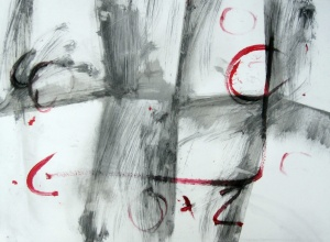 """""""Cada fracàs ensenya a l'èsser humà quelcom que necessitava aprendre"""" (Ch. Dickens) 1, grafit i acrílic sobre paper cuxé, 60x85 cm., 2009"""