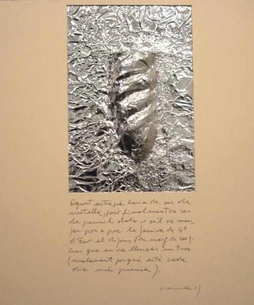 Històries d'entrepans 1, Paper d'alumini  i bolígraf sobre cartró, 50×50 cm., 2009
