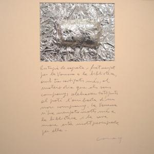 Històries d'entrepans 2, Paper d'alumini  i bolígraf sobre cartró, 50×50 cm., 2009