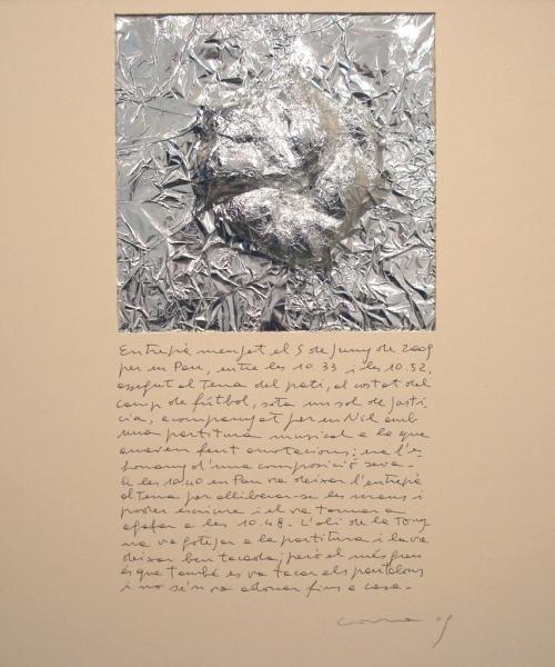 Històries d'entrepans 3, Paper d'alumini  i bolígraf sobre cartró, 50×50 cm., 2009