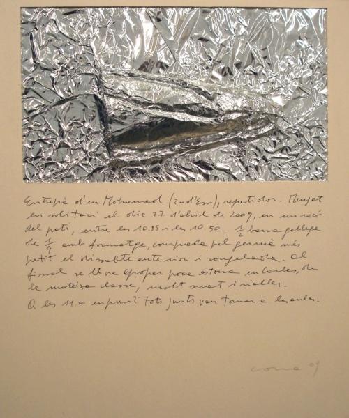 Històries d'entrepans 4, Paper d'alumini  i bolígraf sobre cartró, 50×50 cm., 2009