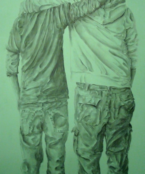 Esquenes eloqüents 1, caseina i carbó sobre fusta, 200×100 cm., 2010