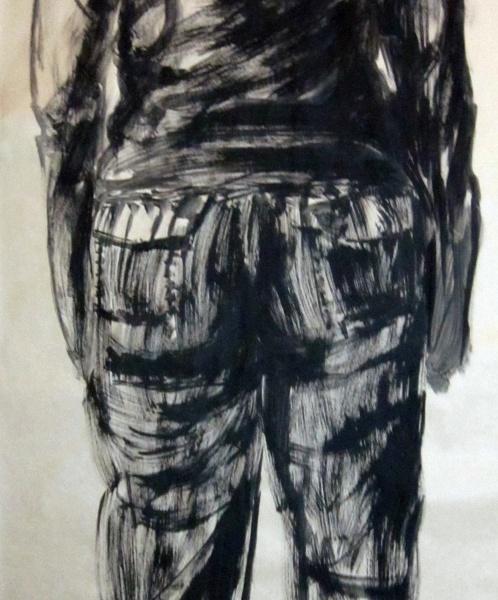 Esquenes eloqüents 3, tremp de cola sobre paper, 200×100 cm., 2010