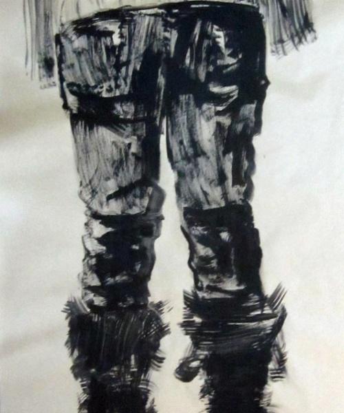 Esquenes eloqüents 4, tremp de cola sobre paper, 200×100 cm., 2010