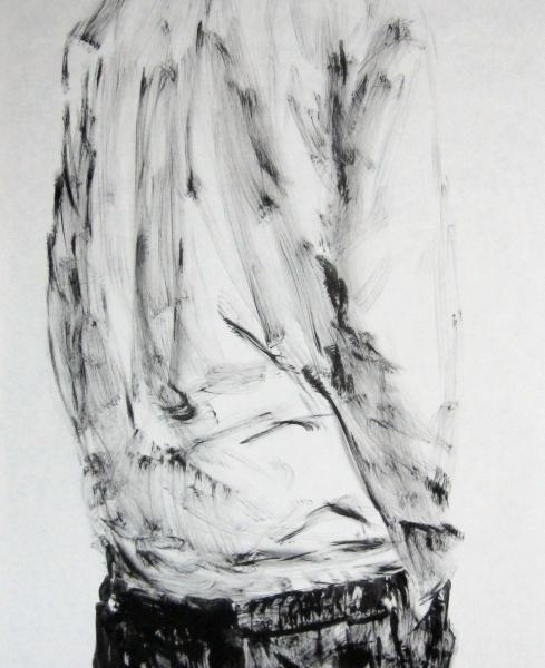 Esquenes eloqüents 5, tremp de cola sobre paper, 200×100 cm., 2010