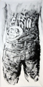 Esquenes eloqüents 6, tremp de cola sobre paper, 200×100 cm., 2010