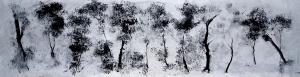 negre de fum i aigua de pluja sobre paper / smoke pigment and rain on paper 110x440cm.