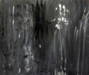 Protollenguatge 2, grafit i pigments sobre tela, 55×65 cm., 2012