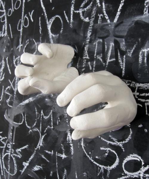 Capes de coneixement (detall), acrílic i guix sobre paret, 100×300 cm., 2010