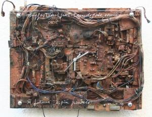 Suggestioni Post-Tecnologiche, sèrie Il Futuro è già Passato, tècnica mixta, 35x50 cm., 2014.