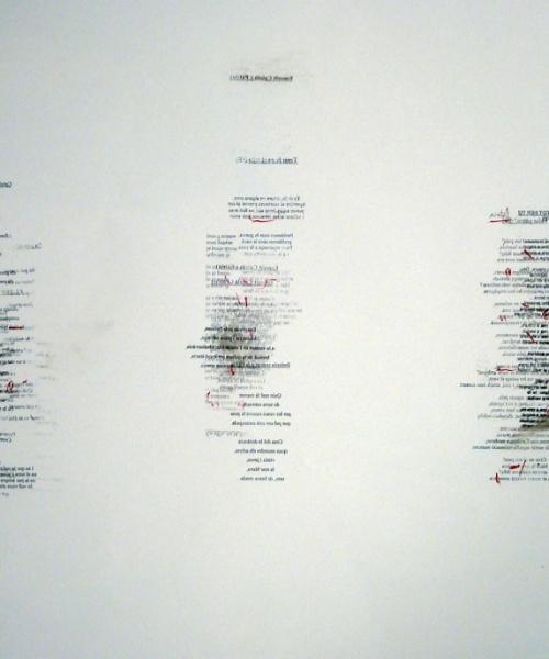 """""""Cada fracàs ensenya a l'èsser humà quelcom que necessitava aprendre"""" (Ch. Dickens) 2, grafit, tóner i acrílic sobre paper, 60×85 cm., 2009"""