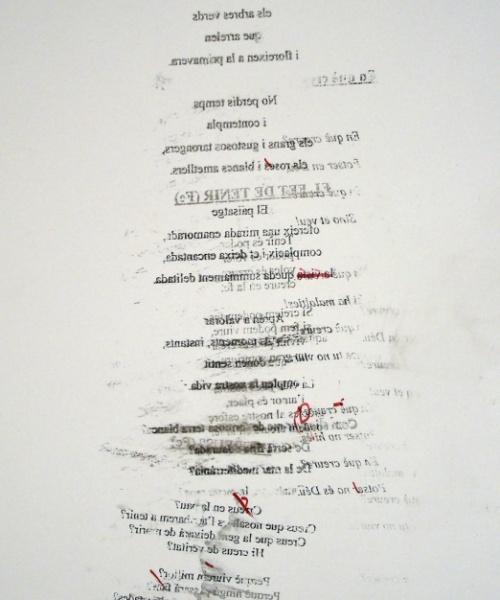 """""""Cada fracàs ensenya a l'èsser humà quelcom que necessitava aprendre"""" (Ch. Dickens) 3, grafit, tóner i acrílic sobre paper, 60×85 cm., 2009"""